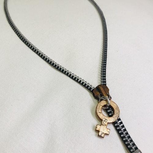 Halsband dragkedja-silver