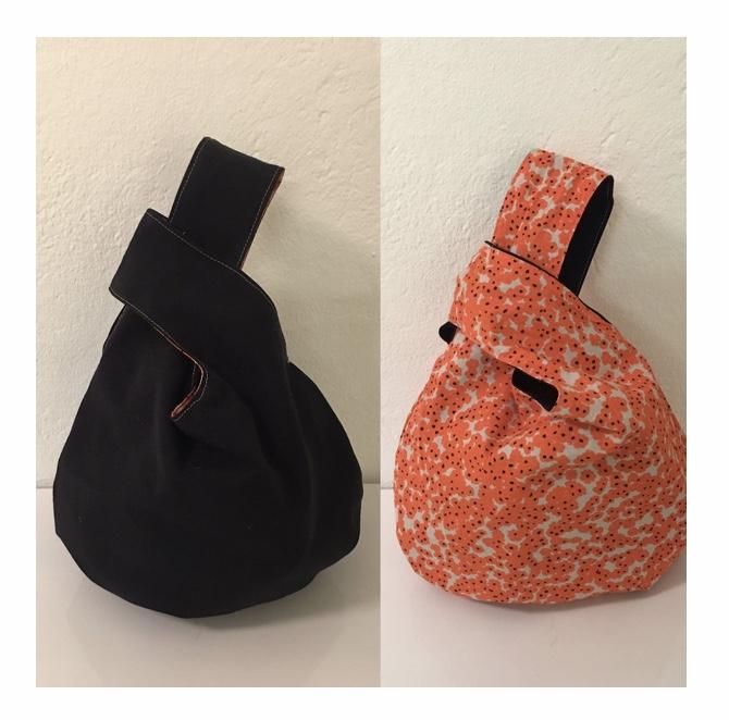 Knot-bag vändbar svart/orange