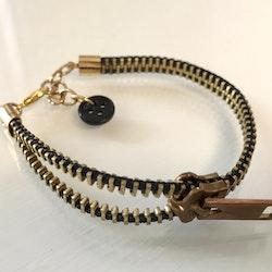Dragkedjearmband-guld/svart