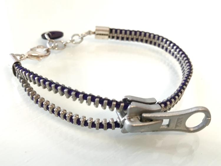 Dragkedjearmband-silver/blålila