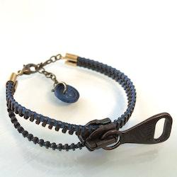 Dragkedjearmband-brons/blått