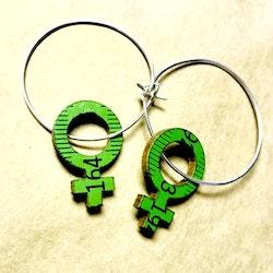 Örhänge feminist - gröna
