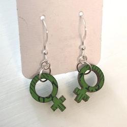 Örhängen feminist - små, gröna