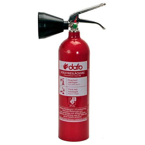 Brandsläckare koldioxid 2 kg Dafo typ KS 2 SBS