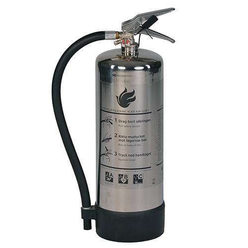 Brandsläckare pulver 6 kg med rostfri behållare