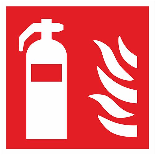 Skylt Brandsläckare 200 × 200 mm, plast dubbelsidig