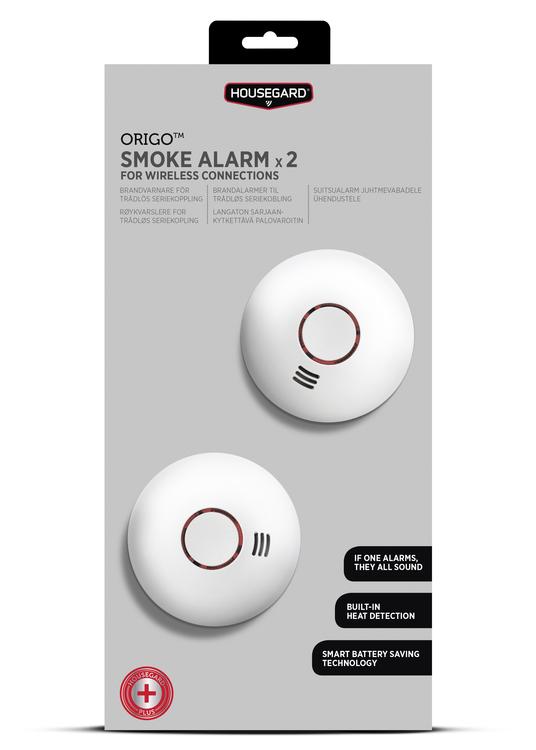 Housegard Origo trådlös brandvarnare, 2-pack