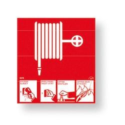Inomhusbrandpost med instruktioner