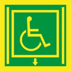 Funktionshindrande säker hiss skylt höger