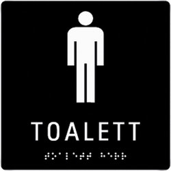 Taktil Skylt Toalett Herr