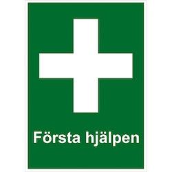"""Skylt """"Första Hjälpen"""" A5 148×210 mm Dubbelsidig"""