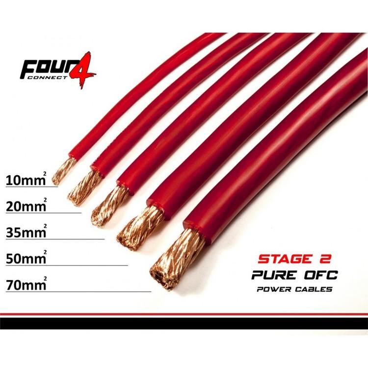 4CONNECT STAGE2 50mm2 OFC-strömkabel Röd