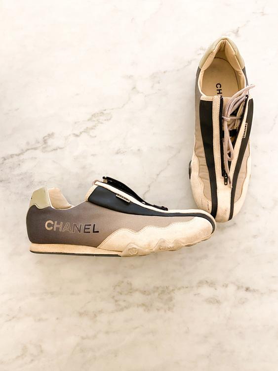 Chanel Vintage Sport Zip Up Sneakers Strl.37 1/2