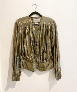 HELENÉ ST MARIE Gold Blouse Vintage (M)