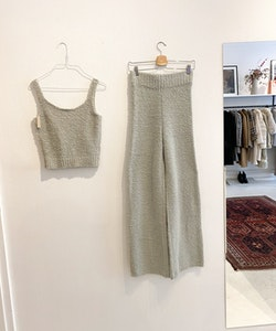 SKIMS Cosy Knit Tank & Pant  Aqua (S/M)