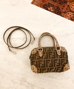 FENDI Brown Zucca Boston Mini Bag