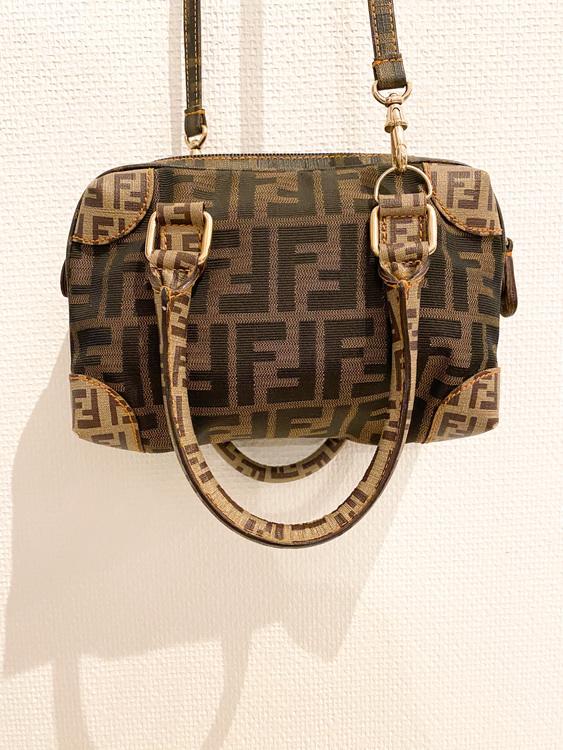 FENDI Brown Zucca Boston Mini Bag