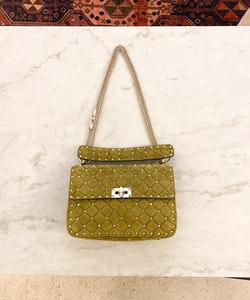VALENTINO Rockstud Spike Green Suede Medium