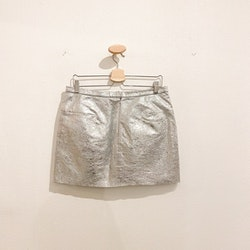 OTHER STORIES Leather Silver Skirt (40)