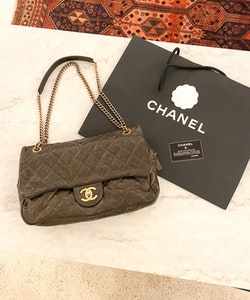 CHANEL Shiva Flap Bag Glazed Caviar Large Bag