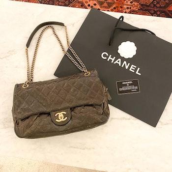 CHANEL Shiva Flap Bag Glazed Caviar Large Bag