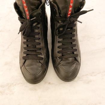 PRADA High Top Leather Sneakers (41)