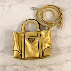 PRADA Mini Gold Crossbody Bag