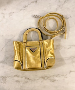 PRADA Mini Gold Crossbody Bag