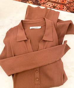 ADOORE COLLAR KNITTED DRESS  (44)