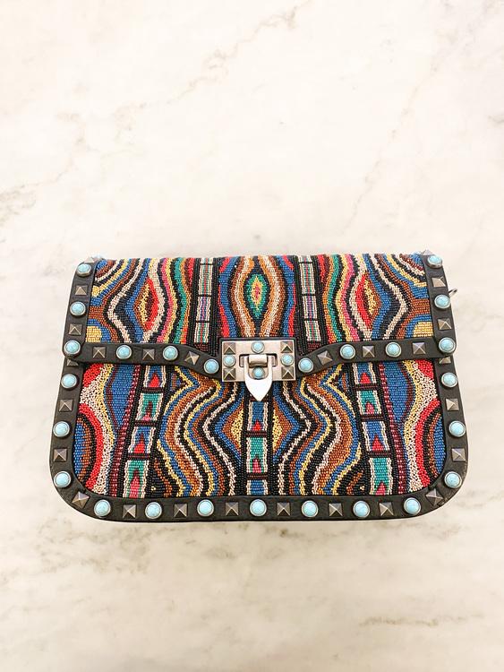 VALENTINO Rockstud Rolling Beaded Medium Shoulder Bag