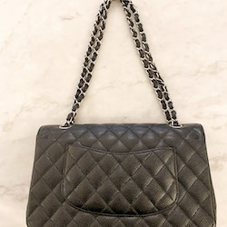 CHANEL Classic Medium Double Flap Black Caviar Leather Bag