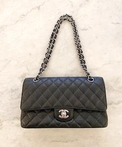 CHANEL Classic Medium Double Flap Black Caviar Leather Bag
