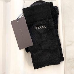 PRADA Lace Socks Intarsia Logo New