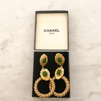 CHANEL Vintage Earrings Green Stone