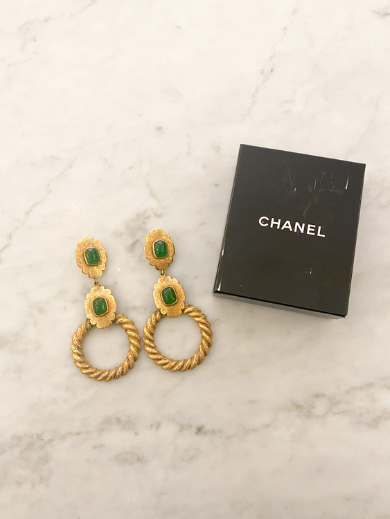 CHANEL Vintage Earrings Green Stone
