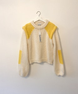 GANNI Hand Knit Wool Patch Pullover in Vanilla Ice (XL)