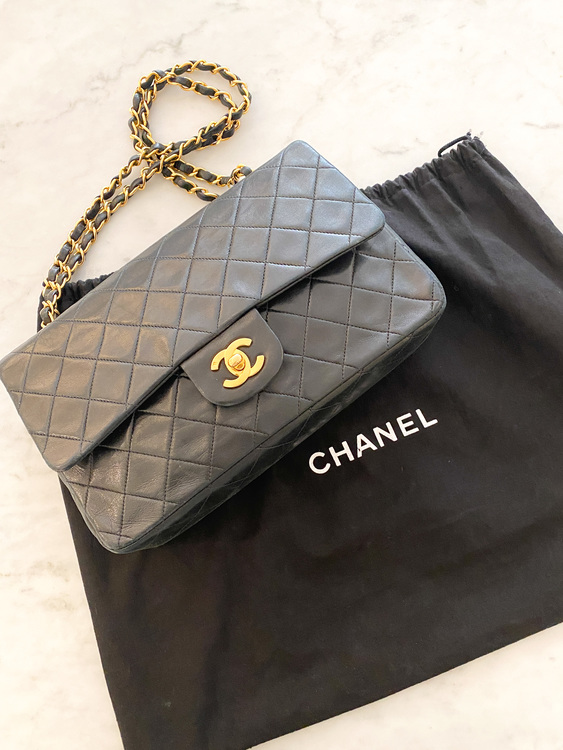 CHANEL Classic Medium Double Flap Black Gold Leather Bag