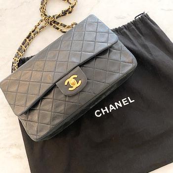 CHANEL Classic Medium Double Flap Black Gold Leather Bag