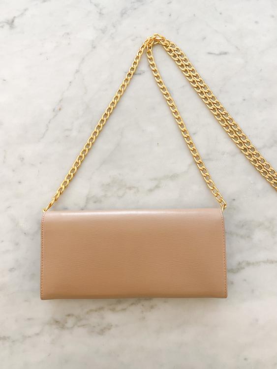PRADA Wallet on Chain Clutch Beige/Gold