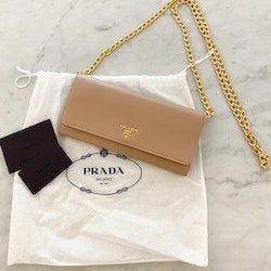 PRADA Wallet on Chain Clutch Beige/Gold
