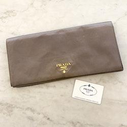 PRADA Silk Clutch Grey Gold