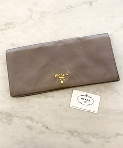 PRADA Silk Clutch Grey Gold