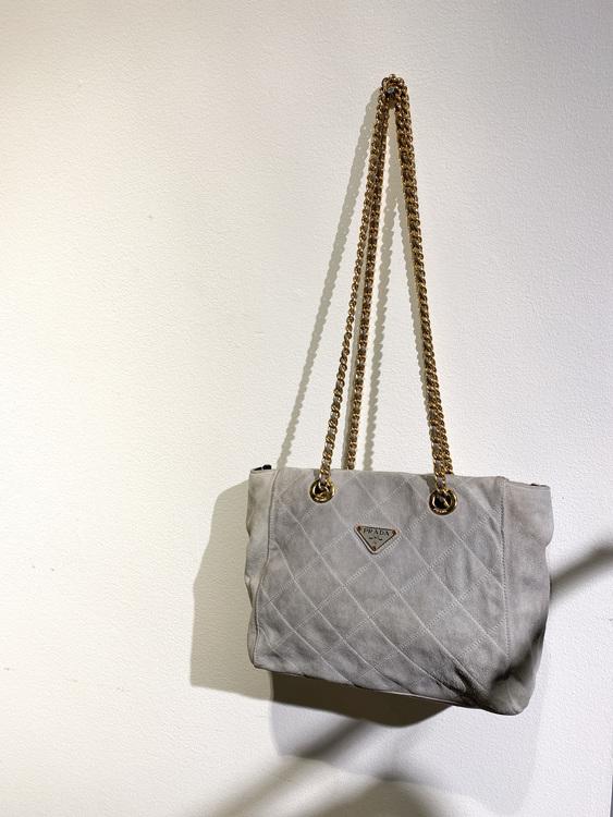 PRADA Suede Chain Bag Light Grey Vintage