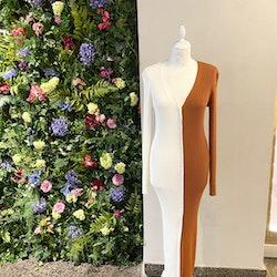 STAUD Shoko Colorblock Ribbed-Knit Midi Sweater Dress (M)