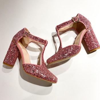 STINE GOYA Marta Pink Glitter Heels (36)