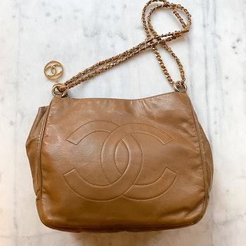 CHANEL Vintage Camel Shoulder Bag