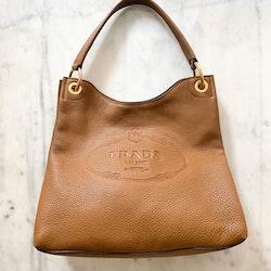 PRADA Vitello Leather Embossed Logo Hobo Bag