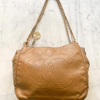 CHANEL Hobo Camel Shoulder Bag Rare from 1990´s