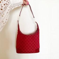 GUCCI Red GG Canvas Shoulder Bag