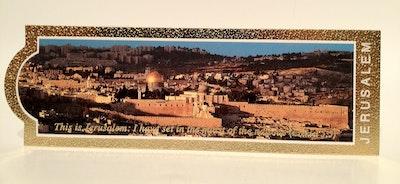 Bokmärke med panorama över Jerusalem